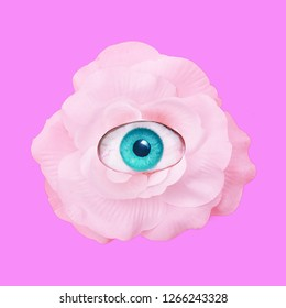 Contemporary art collage.  Romantic flowers roses eye. Romantic