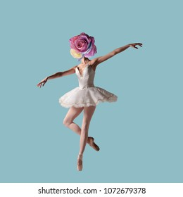 Contemporary art collage, A Rose Flowers head on the body of a ballerina.