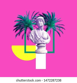 Contemporary art collage. Sculpture renaissance and palm trees. Vacation concept