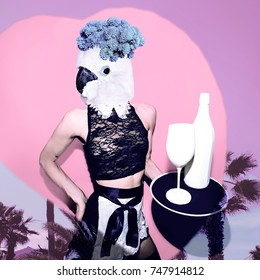 Contemporary art collage. Tropical parrot waitress. Concept my unicorn life
