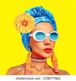 Contemporary art collage. Vacation fashion Girl Cuba Beach Style