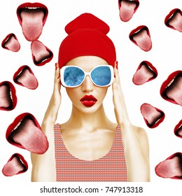 Contemporary art collage. Visual art. Party Girl and Lips background.