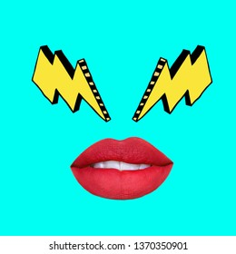 Contemporary art collage. Yellow thunder eyes and red lips.