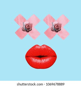 Contemporary art college, red lips, roses eyes
