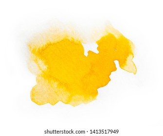 Contemporary artistic yellow abstractive watercolor painting isolated on a white background