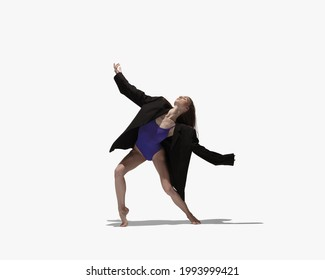 Contemporary ballet. One graceful young Caucasian girl, female ballet dancer training isolated on light background. Ballerina and shadow Concept of beauty, art, show, theater.
