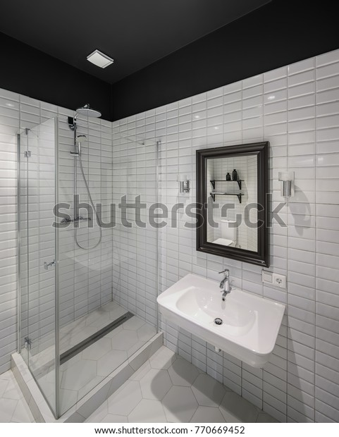Phenomenal Contemporary Bathroom White Tiled Walls Floor Stock Photo Download Free Architecture Designs Jebrpmadebymaigaardcom