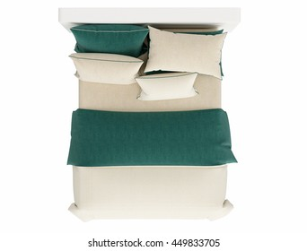 double bed top view. Contemporary Bed Isolated On White Background , Top View Double E