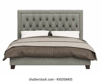 contemporary bed isolated on white background , front view