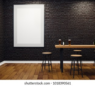 Contemporary black brick pub or bar interior with blank banner on wall. Mock up, 3D Rendering