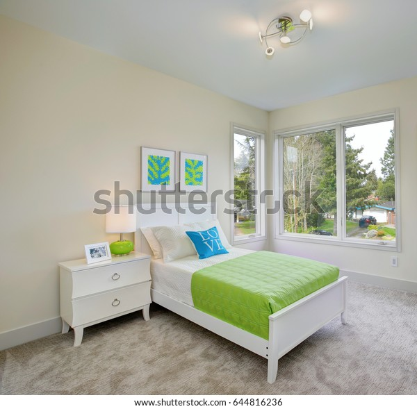 Contemporary Blue Green Kids Bedroom Walls Stock Image ...