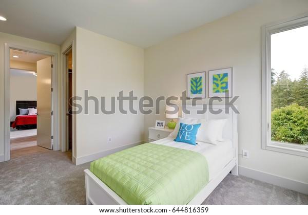Contemporary Blue Green Kids Bedroom Walls Stock Photo (Edit ...