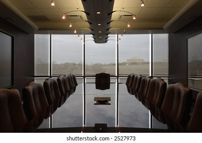 Contemporary Boardroom empty and ready