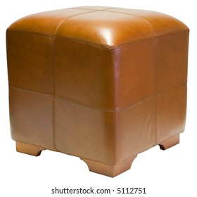 Contemporary Brown Leather Cube Ottoman with Wood Legs
