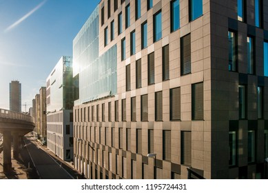 contemporary buildings and urban street at morning, Barcode district, Oslo