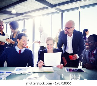 Contemporary Business People Working Together in Office