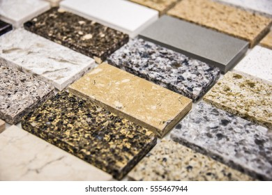 contemporary color samples of granite and marble stone slabs - interior kitchen and bathroom floor concept