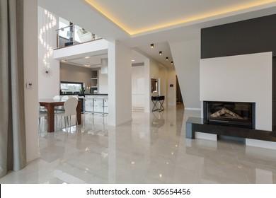 Contemporary designed interior in big expensive house