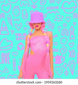 Contemporary digital collage art. Fashion summer girl 90s party style on design pattern background. Text kiss me, true love