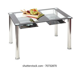 Contemporary dining table with glass top and under shelves