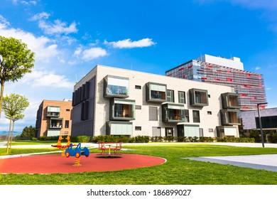 Contemporary eco friendly residential architecture in Ljubljana, Slovenia, Europe.