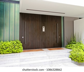 contemporary elegant house entrance dark wood door, Athens Greece