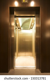 contemporary elevator interior with metal doors