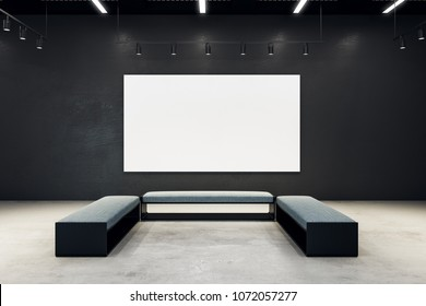 Contemporary exhibition hall with empty banner and bench. Gallery, art, exhibit and museum concept. Mock up, 3D Rendering
