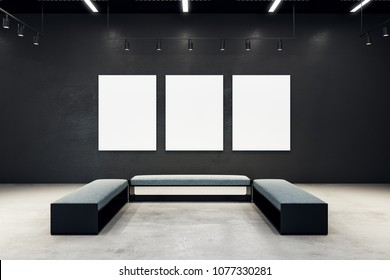 Contemporary exhibition hall with empty poster and bench. Gallery, art, exhibit and museum concept. Mock up, 3D Rendering