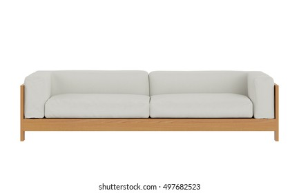 Contemporary fabric sofa isolated on white background. front view.