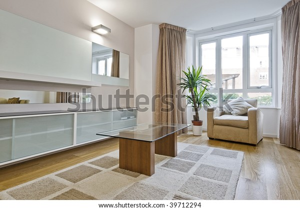 Contemporary Furnished Living Room Bay Window Stock Photo ...