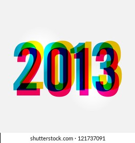 Contemporary happy New year 2013 colorful transparency composition.