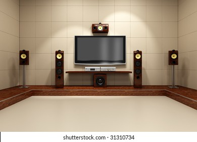 A contemporary home theater room without furniture. Digitally created and high resolution rendered.