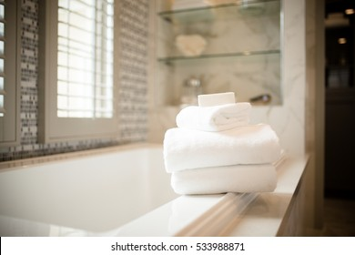 Contemporary Home with White Towels in Bathroom