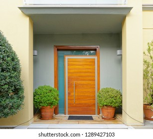 contemporary house cozy entrance wooden door and flower pots