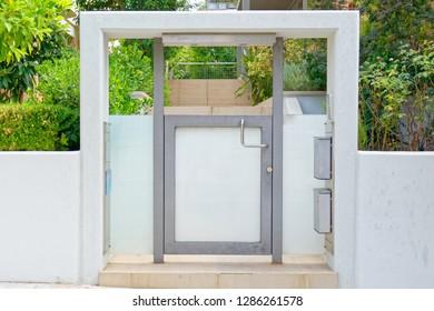 contemporary house entrance external door, posh northern Athens suburbs, Greece