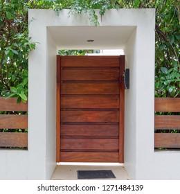contemporary house entrance wooden door, Athens Greece