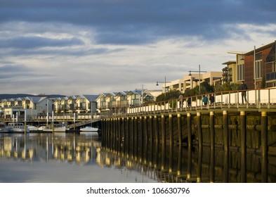 Contemporary houses and buildings and  boardwalk at the Old Launceston Seaport, Launceston, Tasmania, Australia