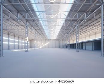 Contemporary industrial building interior illuminated by sunlight 3d illustration background