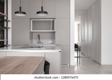 Contemporary interior with a kitchen zone, light walls and a gray floor. There is a wooden table with a black chair, sink, faucet, cooking surface, lockers, hanging lamps, shelves with plant, mirror.
