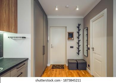Contemporary interior of modern studio apartment. Grey kitchen set. White door. Hanger and mirror on wall.