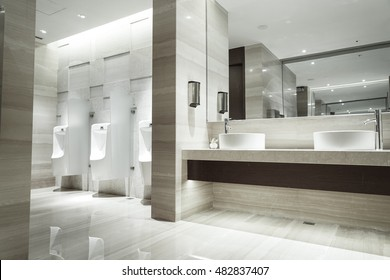 Contemporary interior of public toilet, part of the luxury hotel.