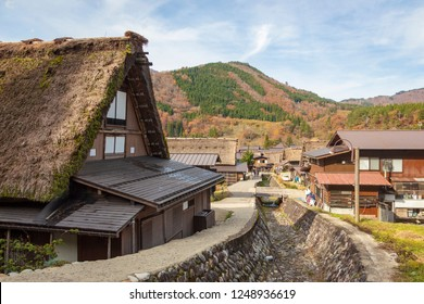 Contemporary Japanese house and traditional Wada houses during autumn season in Shirakawa go, a UNESCO world heritage site in Gifu prefecture, Japa