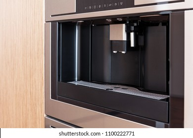 Contemporary kitchen with built in coffee machine