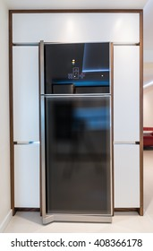 Contemporary kitchen interior with with built-in appliances