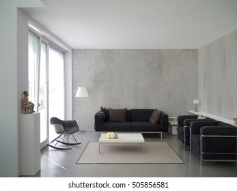 contemporary living room with concrete wall and copy space