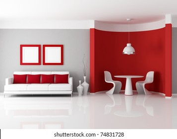 contemporary living room with dining room corner - rendering