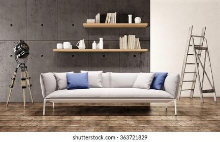 Contemporary living room loft interior