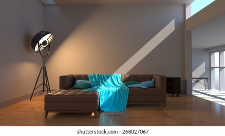 Contemporary living room with modern love seat sofa and lighting. 3d rendering
