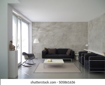 contemporary living room with rough cast wall and copy space for images, photos or paintings